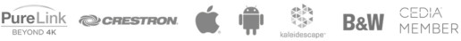 Supplier logos: Pure Link 4k, Crestron, Apple, Android, Kaleidescape, B&W, Cedia Member
