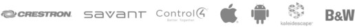 Supplier logos: Crestron, Savant, Control, Apple, Android, Kaleidescape, B&W